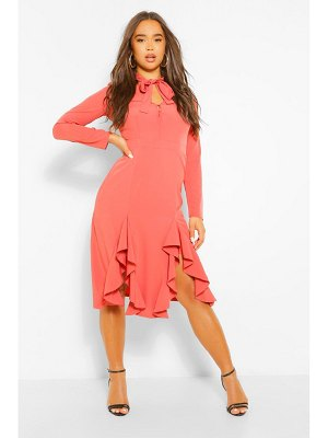 Boohoo High Neck Pussybow Midi Dress