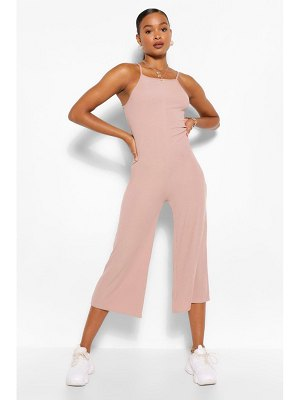 Boohoo High Neck Ribbed Culotte Jumpsuit