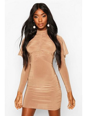Boohoo High Neck Ruched Front Mini Bodycon Dress