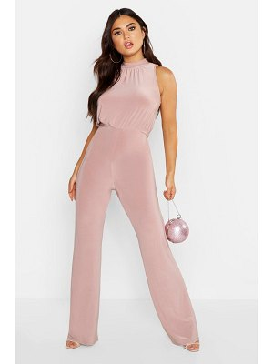 Boohoo High Neck Ruched Jumpsuit