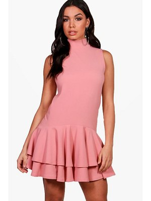 Boohoo High Neck Sleeveless Drop Hem Shift Dress
