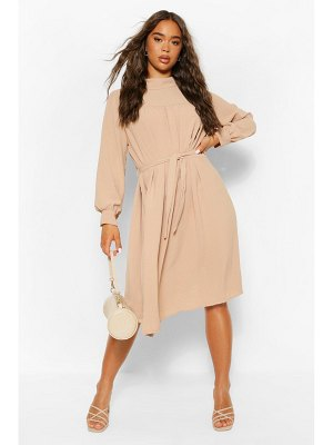 Boohoo High Neck Smock Midi Dress