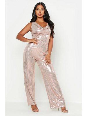 Boohoo Metallic Cowl Neck Wide Leg Jumpsuit