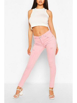Boohoo High Waist Stretch Pastel Skinny Jeans