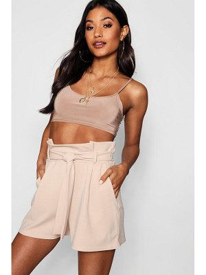 Boohoo High Waist Tie Belt Shorts