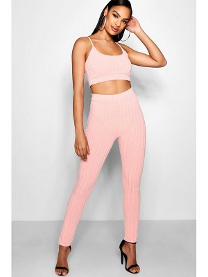 Boohoo High Waisted Square Neck Knitted Lounge Set