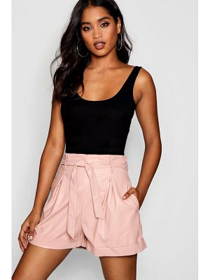Boohoo High Waisted Tie Belt Leather Look Shorts
