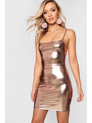 Boohoo Strappy Square Neck Metallic Bodycon Dress