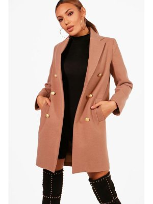 BOOHOO Holly Military Double Breasted Coat