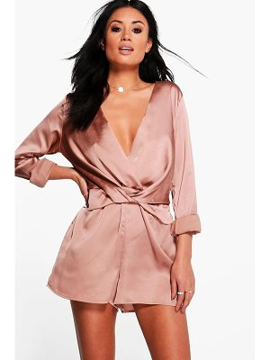 Boohoo Holly Twist Front Satin Playsuit
