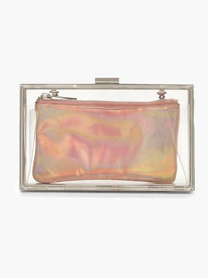 Boohoo Holographic Purse Clear Box Clutch