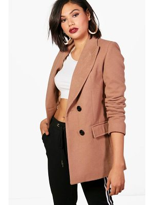 Boohoo Double Breasted Short Wool Look Coat