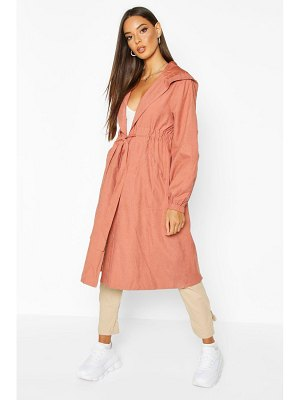 Boohoo Hooded Belted Trench Coat
