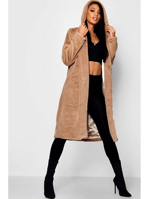 Boohoo Hooded Faux Fur Coat