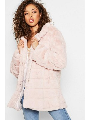 Boohoo Hooded Panelled Faux Fur Coat
