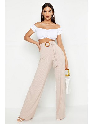 Boohoo High Waist Horn O Ring Ribbed Wide Leg Pants