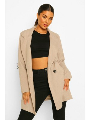 Boohoo Houndstooth Double Breasted Wool Look Coat