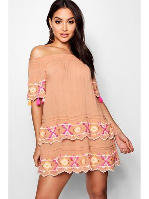 BOOHOO Ibiza Layered Scallop Embroidered Beach Dress