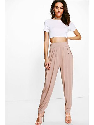 Boohoo Pleat Front Jersey Hareem Trouser