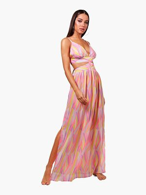 BOOHOO Isabella Chevron Cut Out Beach Maxi Dress