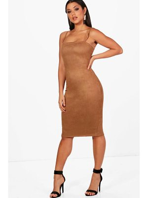 Boohoo Isla Suedette Square Neck Midi Dress