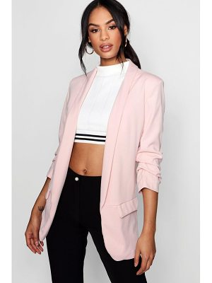 Boohoo Isla Tailored Ruched Sleeve Pocket Blazer