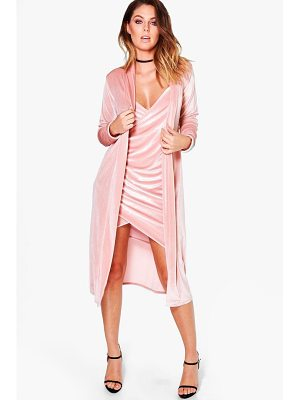 Boohoo Velvet Wrap Dress & Duster Co-Ord