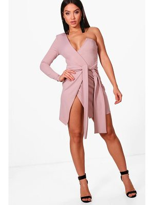 Boohoo One Shoulder Wrap Detail Bodycon Dress
