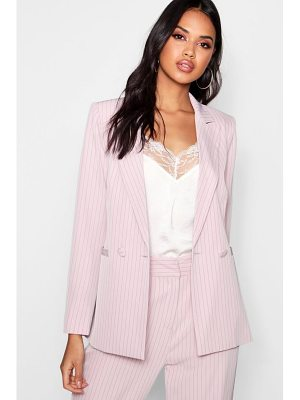 Boohoo Izzie Stripe Double Breasted Tailored Suit Blazer
