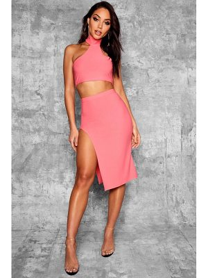 Boohoo Split High Waist Midi Skirt