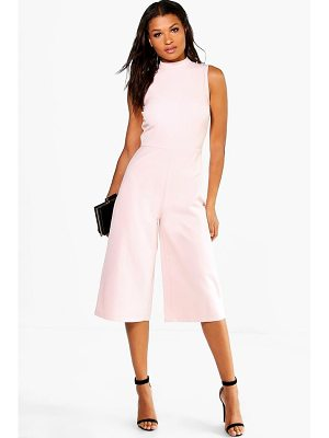 Boohoo High Neck Woven Culotte Jumpsuit