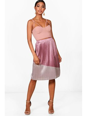 BOOHOO Jessica Colour Block Pleated Satin Midi Skirt