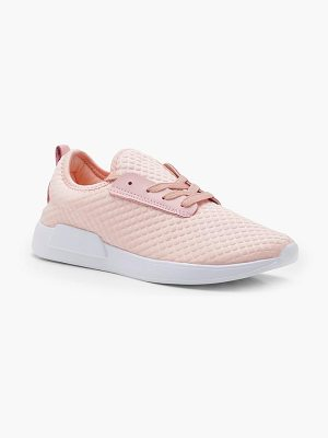 BOOHOO Jessica Textured Lace Up Sports Trainers