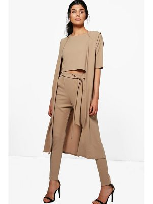 Boohoo Jill 3 Piece Trouser Crop & Duster Co-ord