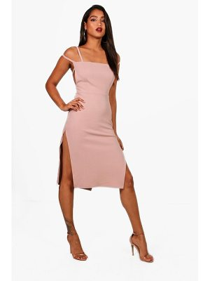 Boohoo Square Neck Strappy Detail Midi Dress