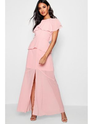 Boohoo Cape Chiffon Tierred Maxi Dress