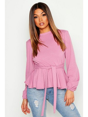 Boohoo Jumbo Rib High Neck Tie Peplum Top