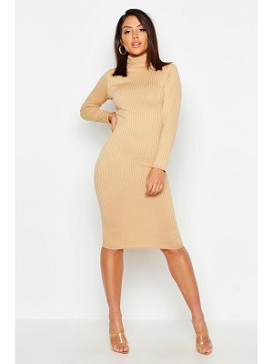 Boohoo Jumbo Rib Roll Neck Midi Dress