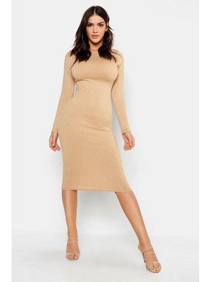 Boohoo Jumbo Rib Slash Neck Midi Dress