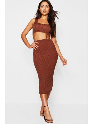 Boohoo Jumbo Rib Square Neck Bralet & Midi Skirt Co-ord