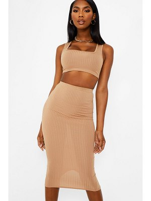 Boohoo Jumbo Rib Square Neck Bralet&Midi Skirt Two-Piece Set