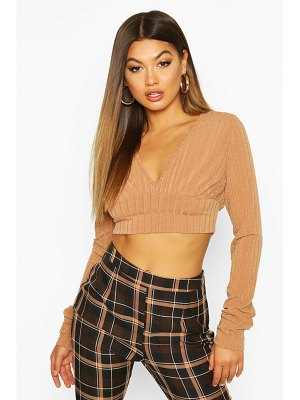 Boohoo Jumbo Ribbed Extreme Sleeve V Neck Crop
