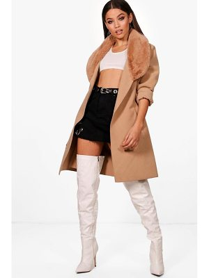 Boohoo June Faux Fur Collar Coat