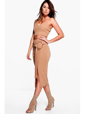 BOOHOO Kara Ring Belt Skirt & Bralet Co-Ord