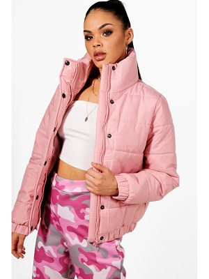 BOOHOO Karina Crop Funnel Neck Padded Jacket