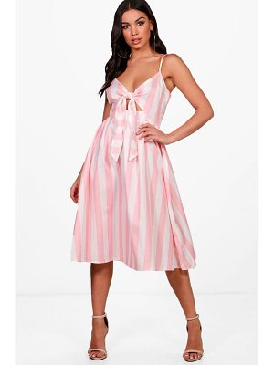 Boohoo Bow Front Striped Skater Dress