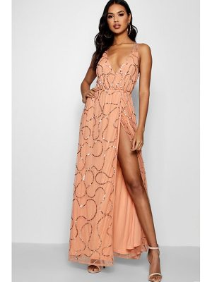 BOOHOO Kayley Plunge Wrap Sequin Maxi Dress