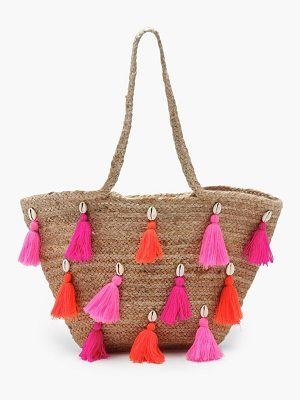 Boohoo Keira Multi Colour Tassel Straw Bag