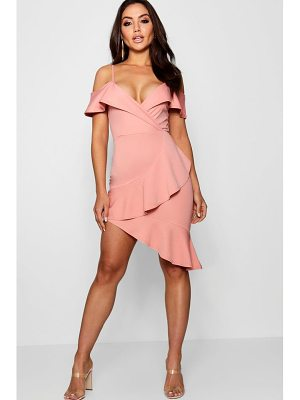 Boohoo Kelly Ruffle Cold Shoulder Midi Dress