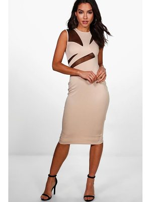 BOOHOO Kelsey Mesh Structured Top Midi Dress